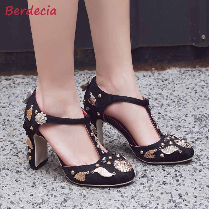 Berdecia Flower Crystal Rivet Chunky High Heel Woman Pumps Zapatos Mujer Round Toe Wedding Party Buckle Strap Fashion Shoe Woman