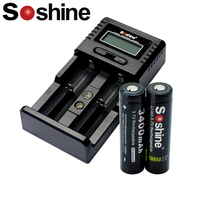 2pcs Soshine 18650 3.7V 3400mAh Rechargeable Battery Protected High Discharge Li ion Batteries with H2 LCD 18650 charger