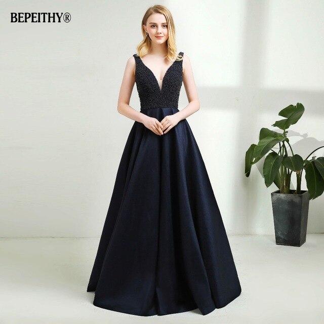 Sexy Backless Long Evening Dress Vestido De Festa 2019 Pearls Top New Prom Dresses Hot Sale 5
