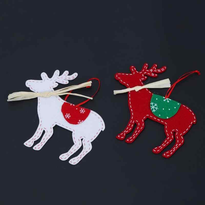 2 قطع شجرة عيد الميلاد الحلي غير المنسوجة دير الأيل مع الشريط شنقا زينة للمنازل حزب جديد نعم ديكور