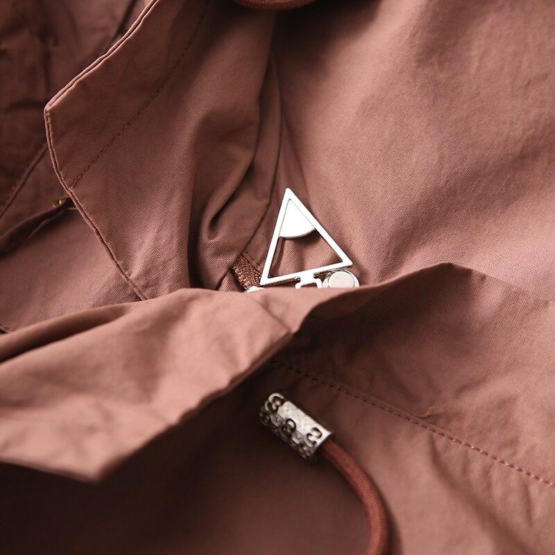W1815 Commuter art ขนาดใหญ่หลวม plaited plaited ฝาปิดสี่เหลี่ยมคู่ drawstring hooded coat-ใน โค้ทยาว จาก เสื้อผ้าสตรี บน   2