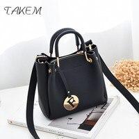 TAKEM The Latest Ladies PU Shoulder Bag Purse Handbag Fashion Simple Color Woman Packs Exquisite Letter