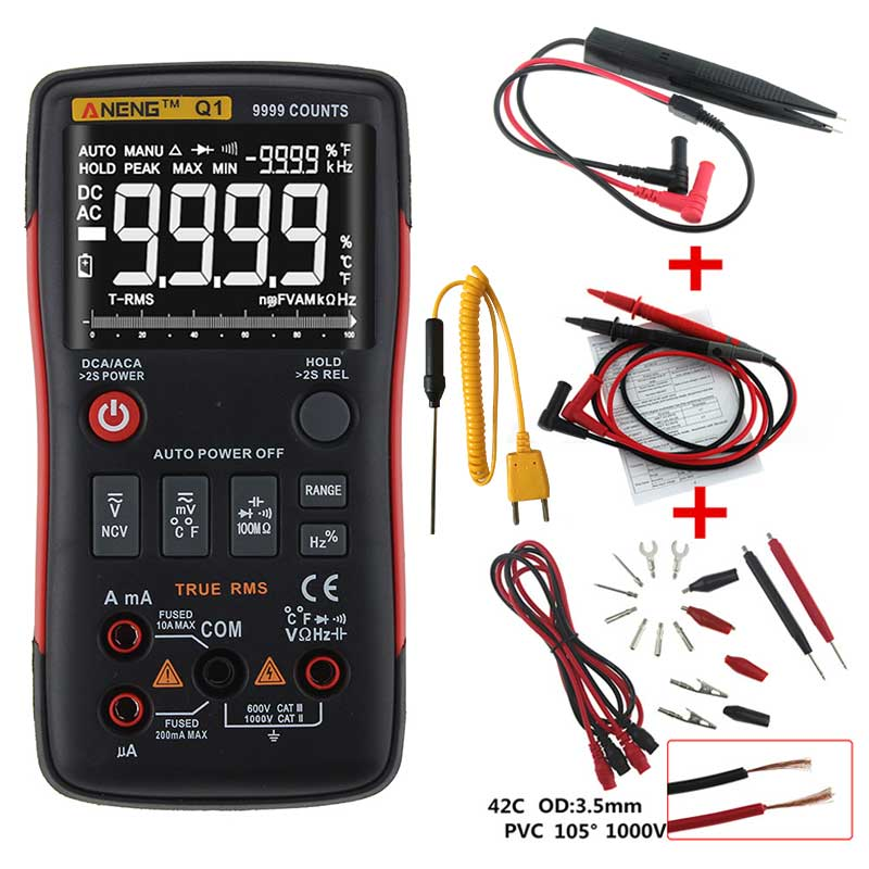 Q1 True-RMS Digital Multimeter Transistor Tester Auto Button 9999 Counts With Analog Bar Graph AC/DC Voltage Ammeter Current Ohm