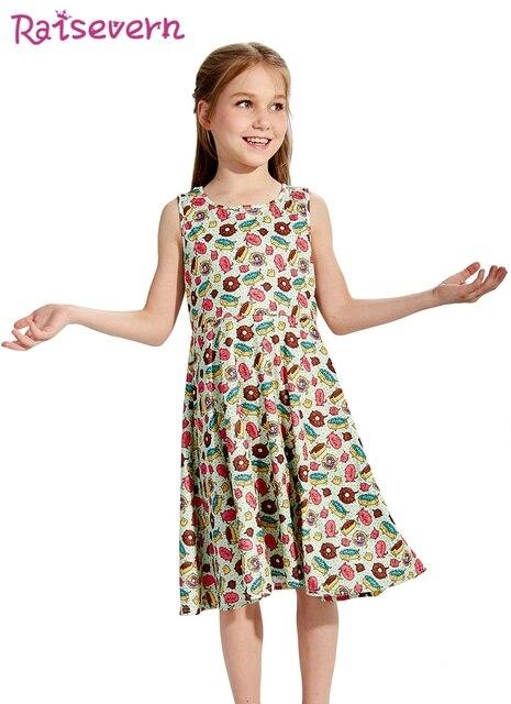 9b6f7750dd76 2018 Summer Dresses Girls Animals Donut Printed Girls Dress Cartoon  Printing Kids Dresses For Girls Clothing