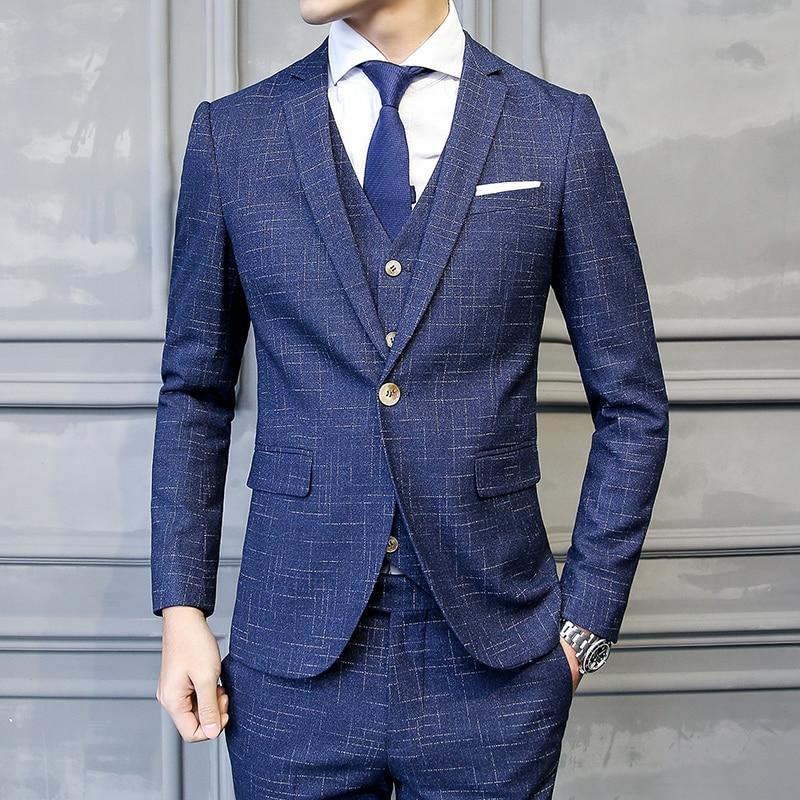 Fit Arts Un Costumes Et Hommes Mariage Formelle gary Pièces veste Black Pantalon Coréen Mince Slim Gilet Artisanat blue Costume Trois Bouton De Partie 60Yvq