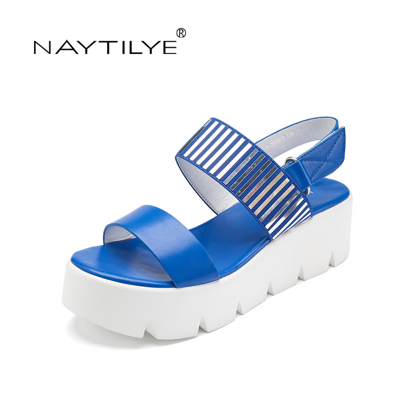 Wedges sandals women Pu Leather Summer High quality shoes woman platform 36-41 black blue size Free shipping NAYTILYE mudibear women sandals pu leather flat sandals low wedges summer shoes women open toe platform sandals women casual shoes