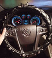 Personalized Retro Alloy Skull Leather Car Steering Wheel Covers Litchi Grain Sheepskin Grip Covers 15 inch 38CM - Black