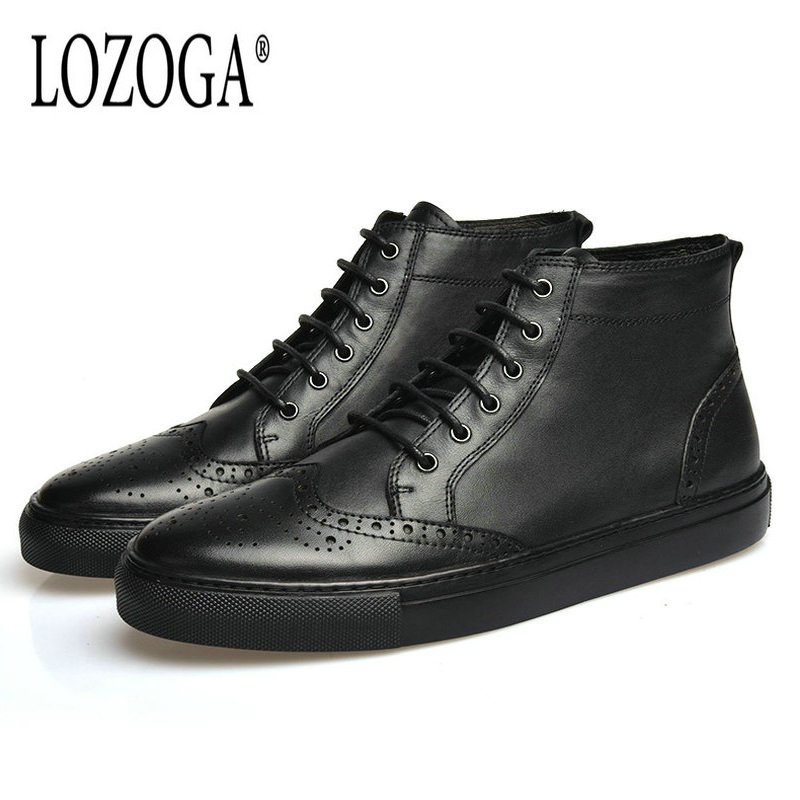 Lozoga 2018 New Men Boots Black Cow Leather Brand Casual Shoes Spring Autumn Boots Handmade Brogues Carved Ankle Boots For Mens