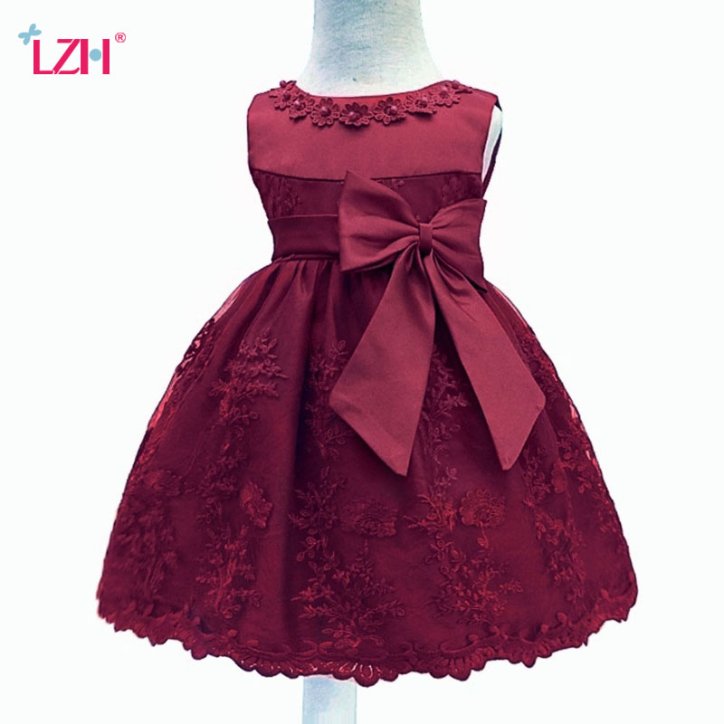 LZH Baby Girls Dress For Girl 1 Year Birthday Dress Kids Baby Princess Dress Christening Gown Infant Party Dress Newborn Clothes sun moon kids baby dress 2017 long sleeve 1 year birthday dress casual ruffles newborn baby girl clothes princess tutu dresses
