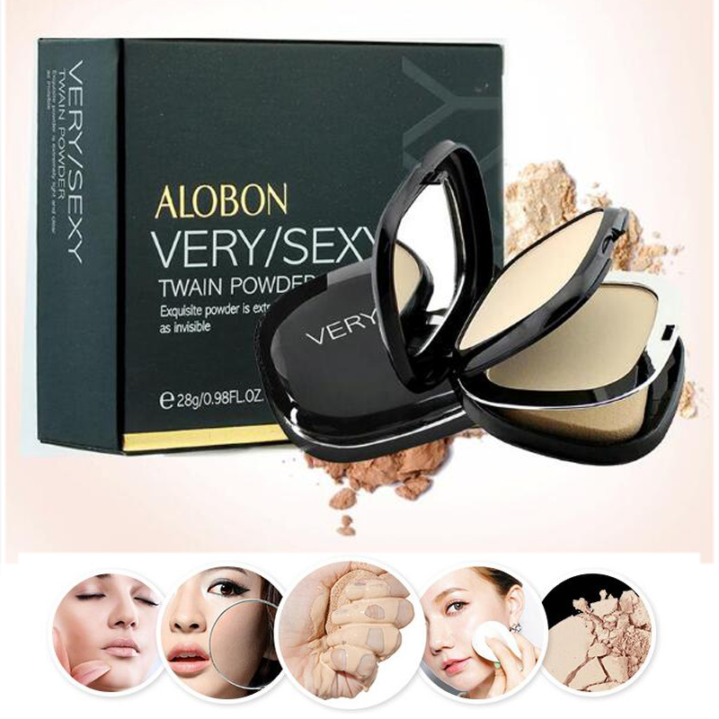 3 colores polvo de cara arreglar presionado polvo de cara Fundación de Base de maquillaje iluminador Puff contorno desnudo compacto cosméticos