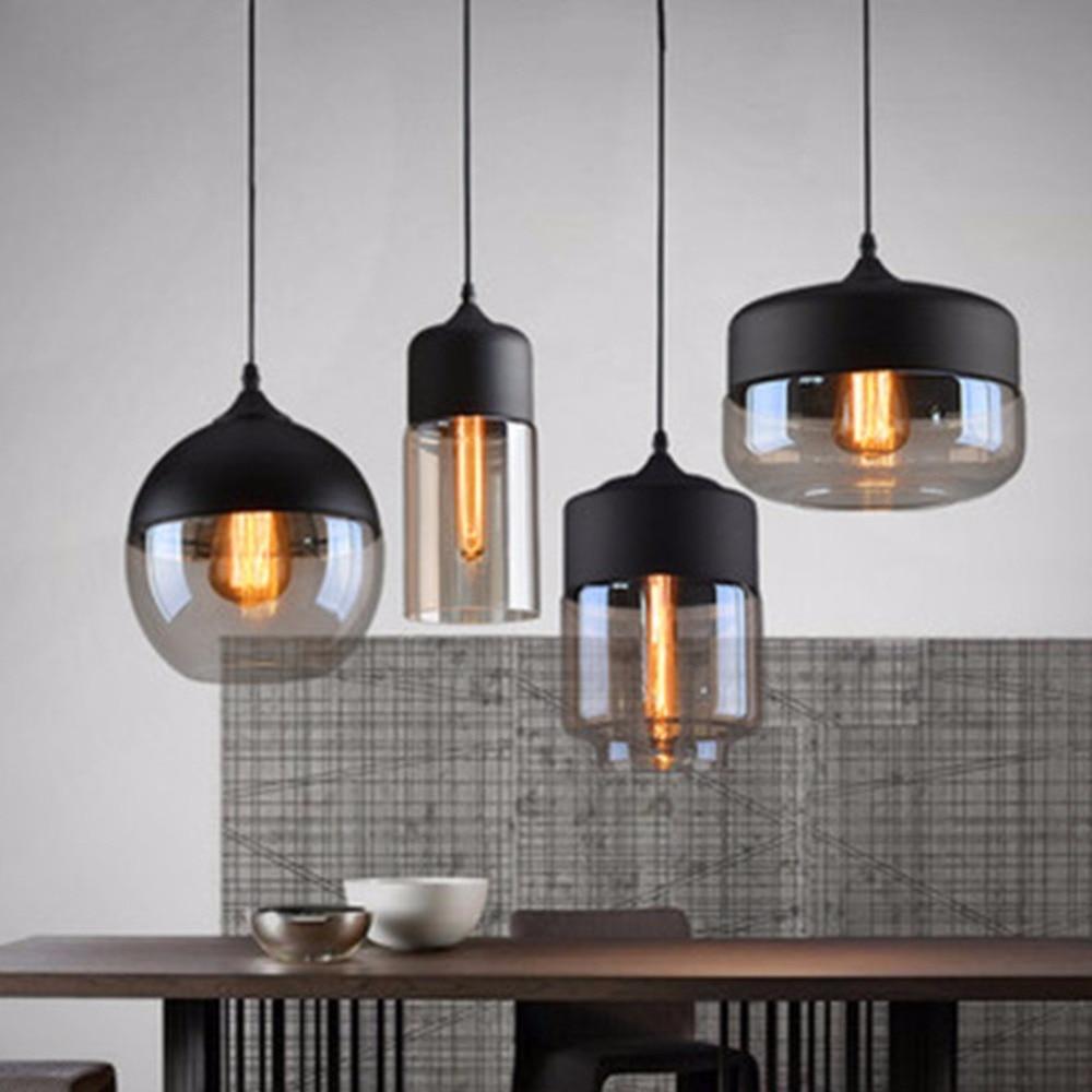 Винтажный обеденный черный подвесной светильник простые стеклянные лампы Лофт освещение бар подвесной светильник 4 шт./компл. Подвесная ла