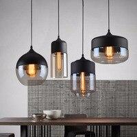 Винтаж обеденный черный подвесной светильник просто Стекло лампы Лофт освещение бар подвесной светильник 4 шт./компл. повесил лампы для рес