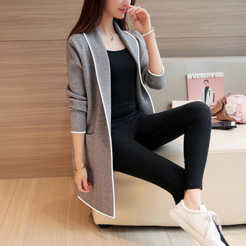 Women Spring Autumn Medium-long Cardigan 2018 New female elegant Turn-down Collar Outerwear Coat