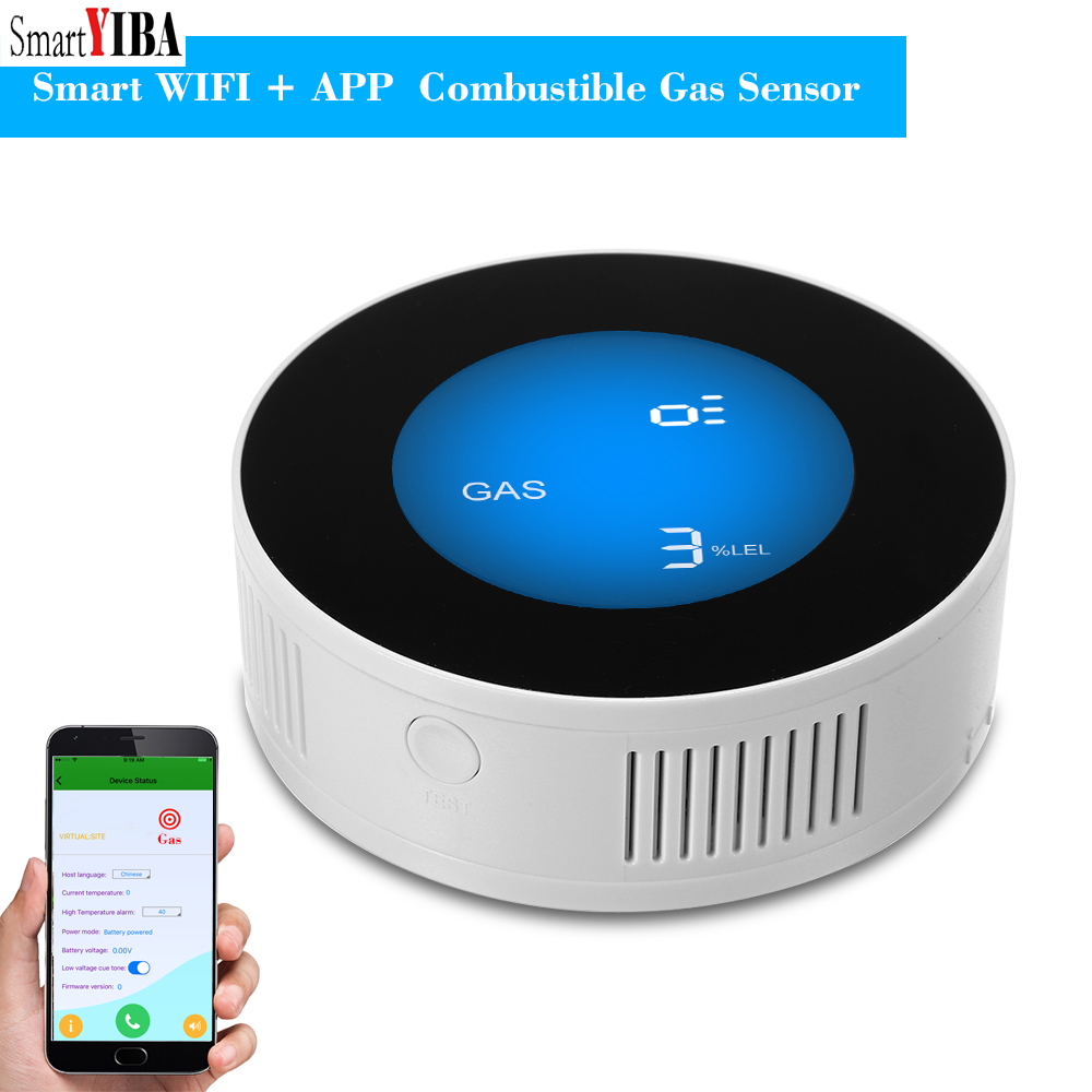 SmartYIBA WIFI Wireless APP Remote Control LCD Display Household Combustible Gas Leak Sensor Detector Natural Gas Alarm Security