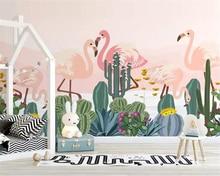 Купить с кэшбэком Custom photo Wallpaper Mural Hand drawn tropical plant flamingo cactus background Wall papel de parede 3d wallpaper beibehang