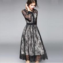 2018 New Spring Autumn Fashion Europe Abbigliamento Donna Fiori  Rappezzatura Vestito di Pizzo Ante Scava Fuori Una Linea di Abit. d1aa6533d7e