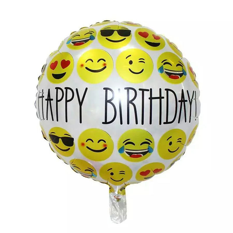 1PCS 18 Inch Happy Birthday Emoji Foil Balloons Helium Inflatable Toy Balloon Face Globos Party Decoration Air Ball In Ballons Accessories From