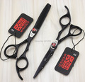 6Inch Kasho Black Paint Cutting Scissors and Thinning Scissors Kits,Professional Hair Scissors with Red Flame Screw,1set LZS0168