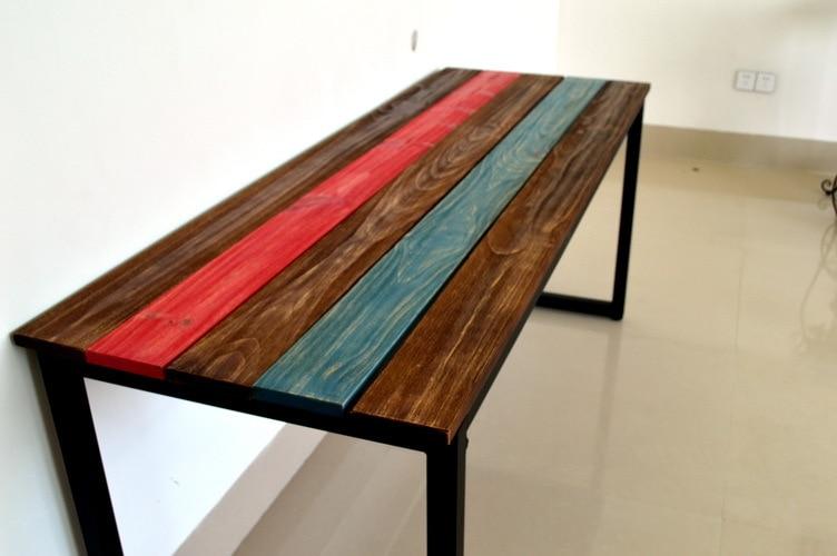 Mesas madera y hierro awesome madera suarhierro photo ag for Mesas de hierro forjado y madera