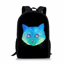 FORUDESIGNS Children Black Backpack for Student Colorful Cat Print School Bags Baby Boy Kids Cute Bookbag Notebook 2019