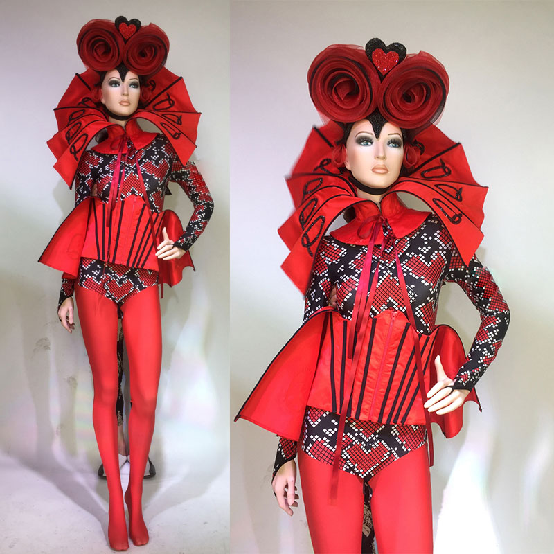 3D flower headdress stage costume sets Red Exaggerated Nightclub Stage Print Jumpsuit DS Dj Ds Gogo Costumes for Singer