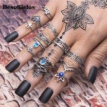 New 13pcs/Set Bohemia Retro Metal Purple Crystal Knuckle Midi Fingers Rings Set for Women Geometric Vintage Sets Jewelry