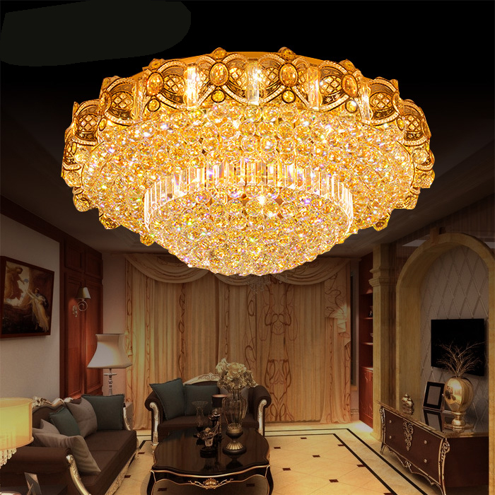 European style crystal lamp living room luxury hall chandelier round crystal lamp ceiling lamp bedroom lamp large chandelier
