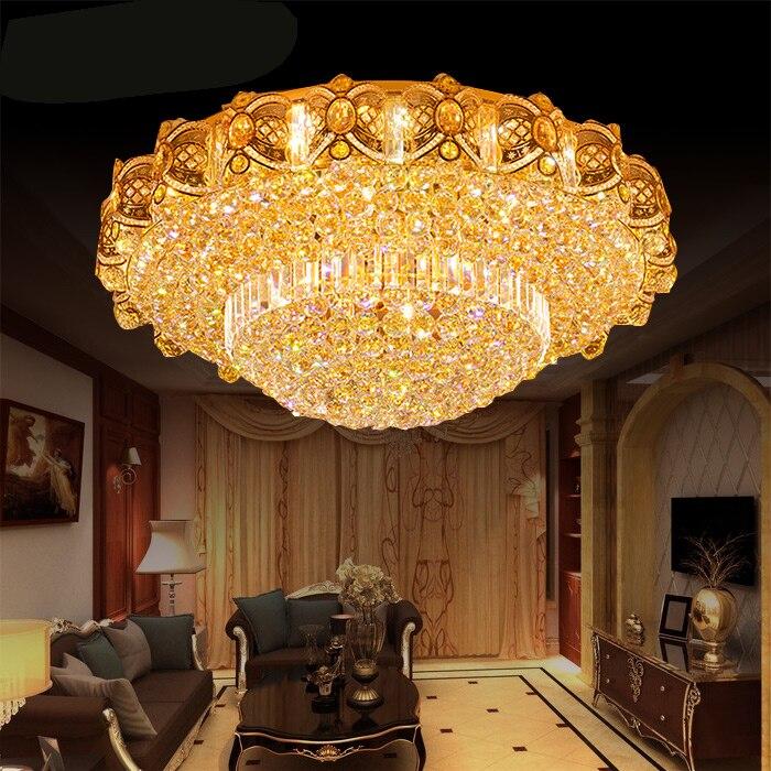 Style européen lampe en cristal salon de luxe hall lustre rond lampe en cristal plafonnier chambre lampe grand lustre