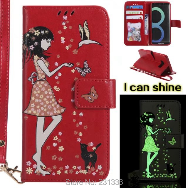 Luminous Strap Wallet Leather Pouch Case For Samsung Galaxy S8 PLUS S6 A5 2017 J3 J5 J7 Prime S7 EDGE Cat TPU Stand ID Card 1pcs