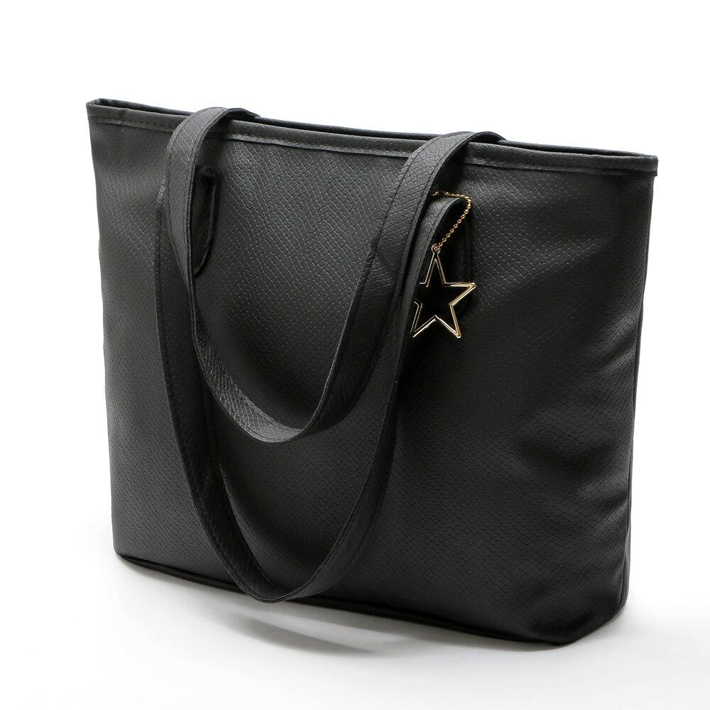 High Quality Female Top-handle Bags 2017 Fashion pu Large Women Hand Bags shopping Shoulder Bag Black