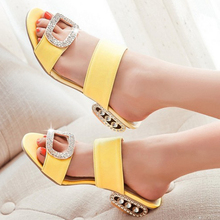 Meotina Women Sandals Summer Lady Slippers Shoes Women Low Heels Sandals Fashion Rhinestone Slides Orange Yellow Large Size 9 10