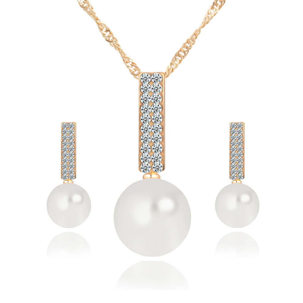 17KM Women Fashion Jewelry Set Necklace Earrings Simple simulated ...