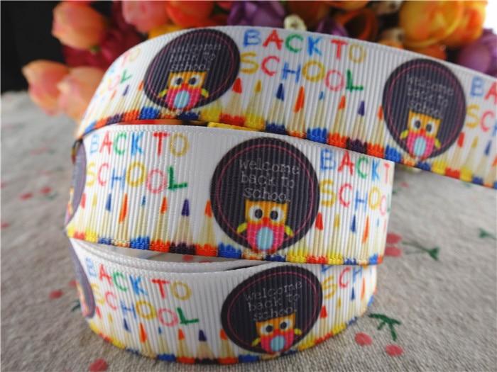 16063035, new arrival 78'' 22mm 10 yards back to school printed grosgrain ribbons cartoon ribbon handmade hair bows
