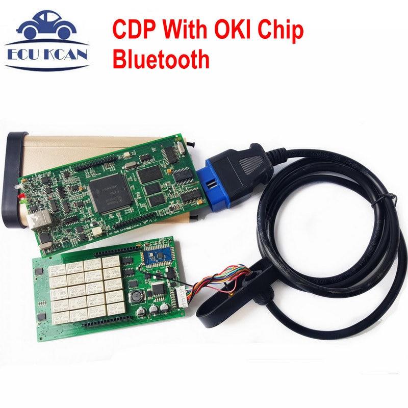 Prix pour TCS CDP Avec OKI Puce Bluetooth CDP Pro Plus 2014 R2 Keygen OBDII Outil De Diagnostic Pour Les Voitures et Camions Tcs Scanner MVDIAG NOUVEAU VCI DS