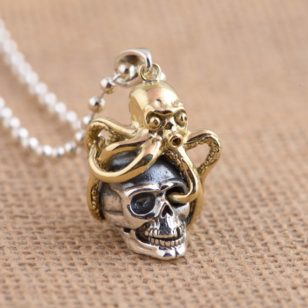 925 Sterling Silver Skull Pendant Thai Silver Antique Style Cool Personality Gothic Skeleton Pendants for Men Wome Without Chain