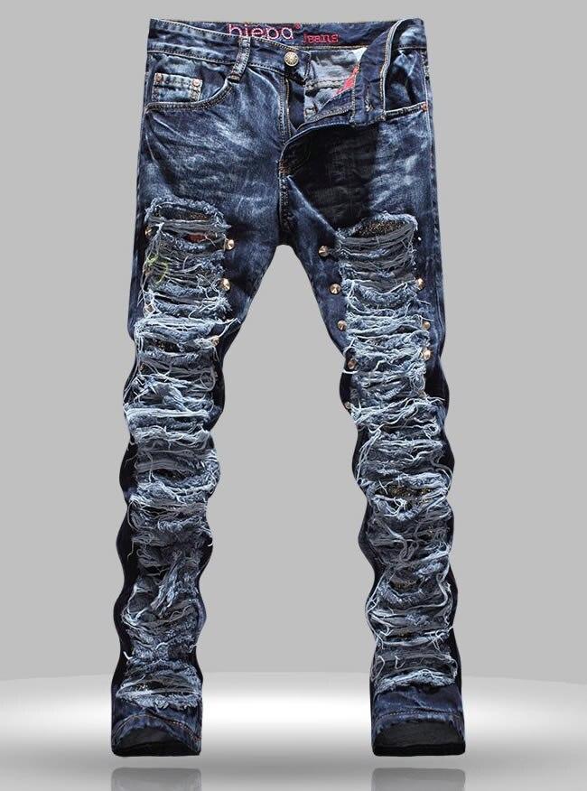 Hot sale Novelty designer men cutout Tassel jeans fashion Rivet trousers hot sale new arrival men cutout jeans fashion embroidery pencil trousers