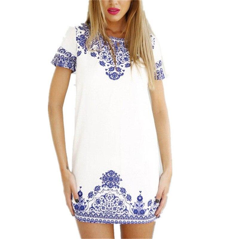 75e4c039f7b Women Fashion Summer Casual Vintage White Blue Porcelain Print Short Sleeve  Mini Dress Sexy Shirt Beach Dress DR034