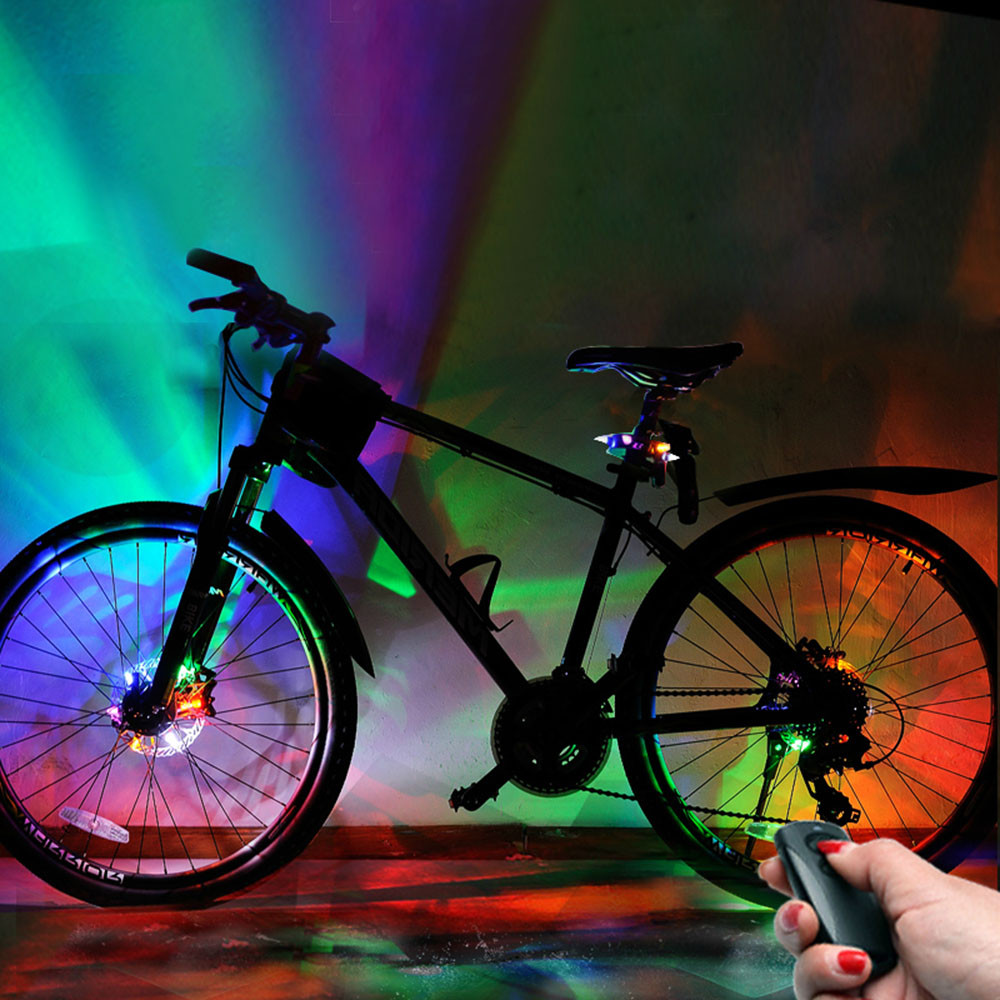Bicycle Light 1pcs Bicycle Light 32 Led 30 Kinds Patterns Cycling Bike Bicycles Rainbow Wheel Signal Tire Spoke Light Bicycle Accessories Superior Materials