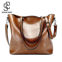 SEVEN SKIN Brand PU Solid Leather Bags Women S Bucket Designer Handbags High Quality Shoulder Messenger