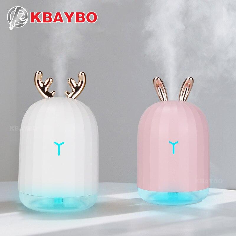 KBAYBO 220 ml USB difusor de Aroma de aceite esencial humidificador ultrasónico difusor 7 cambio de Color LED noche Luz de niebla para A casa