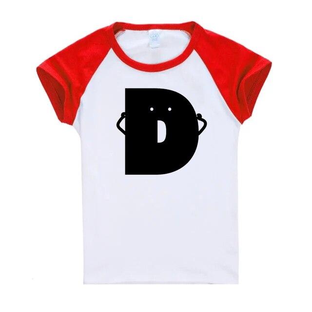Ropa de Bebé divertido Letra D Camiseta de Los Niños Patchwork Niños ...