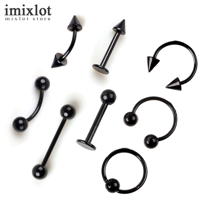 Imixlot Eyebrow-Nose-Lip Jewelry Labret Ear-Ring Body-Piercing Stainless-Steel Tongue-Cartilage