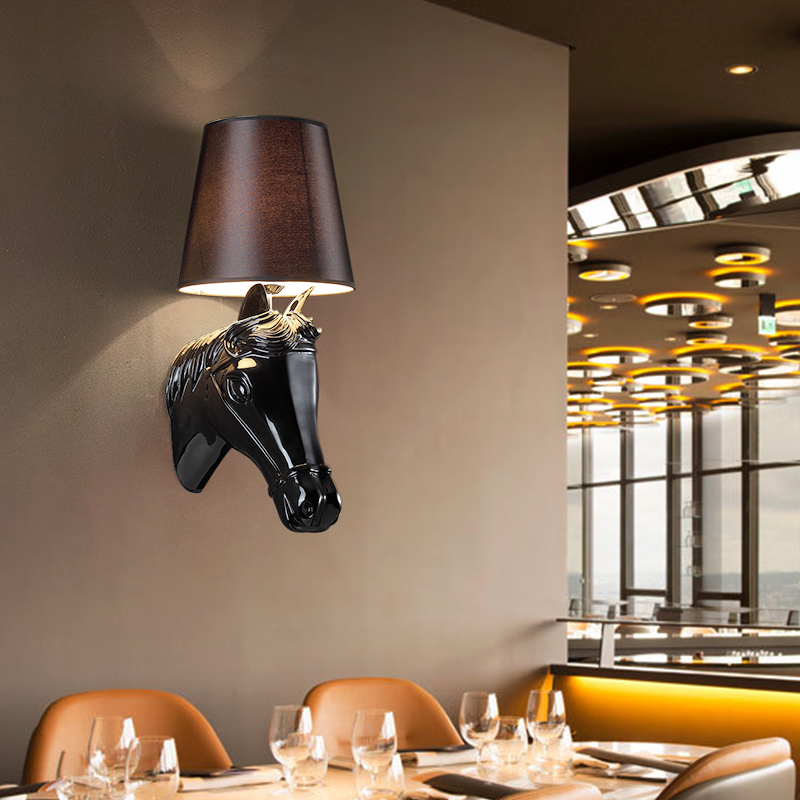 Horse head White /black lights Surface Mounted Modern Wall Lamp LED Fabric Lamp shade Wall Lights for Indoor Lighting