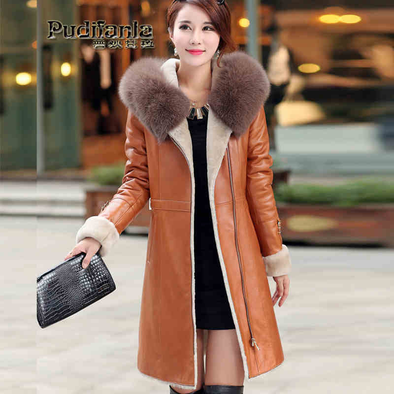 2015 new Hot winter Thicken Warm Woman Down jacket Coat Parkas Hooded fox Fur collar Sheep Skin Cold long plus size 3XXXL Slim 2016 new hot winter thick warm woman coat cotton wadded jacket parkas slim luxury hooded fur collar long plus size 3xxxl cold
