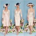 De Encaje de color rosa Madre de la Novia con la chaqueta Madre de la novia Longitud de La Rodilla vestidos vestido para la madre de la novia 2015