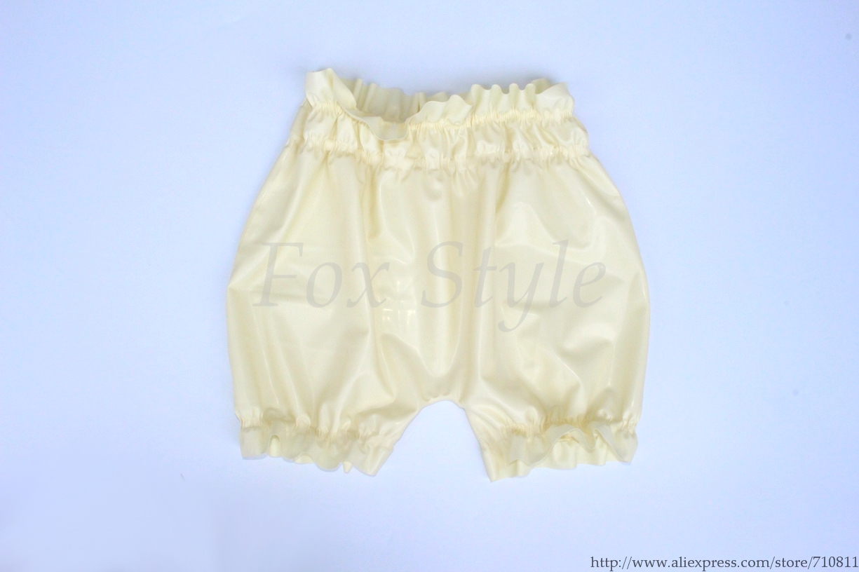 Men s Sexy white underwear latex shorts rubber boxers real photo no
