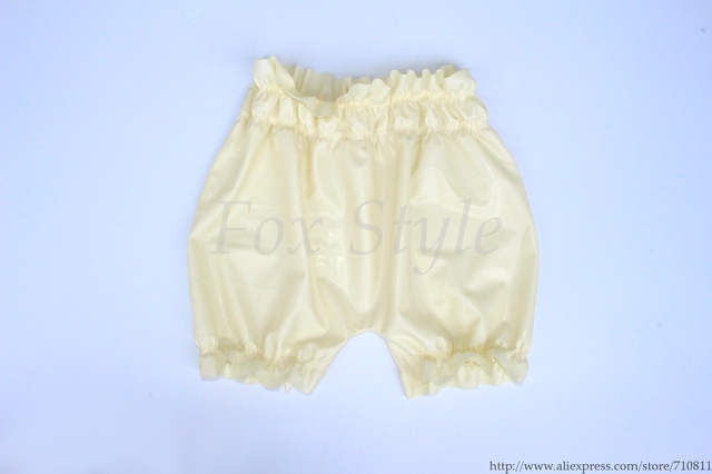 Men 's Sexy white underwear latex shorts rubber boxers real photo no lubes