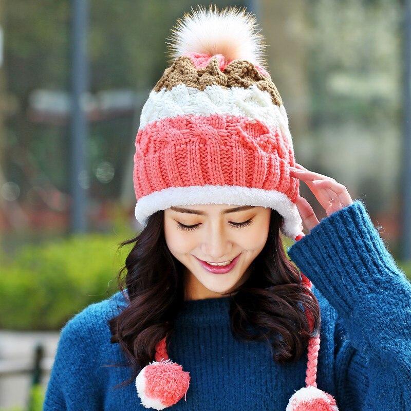 1pcs Cute Winter Hats for Girls Crochet Knitted Hats for Women   Skullies     Beanie   Caps Brand Ball   Beanies   Hat Bonnet Homme Femme