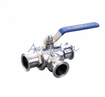 "1-1/4"" Stainless Steel 316 Three way Clamp Connection T Type Sanitary Ball valve"