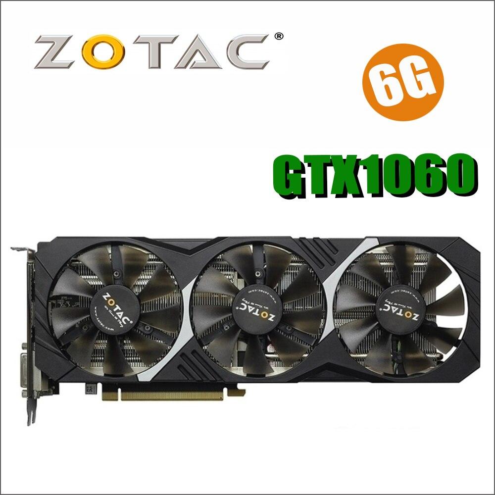 D'origine ZOTAC Vidéo Carte GPU GTX 1060 6 gb 192Bit GDDR5 Cartes Graphiques Carte pour nVIDIA GeForce GTX1060 6GD5 6g 8pin 1569/1784 mhz